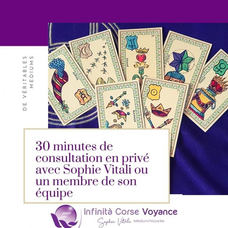 30 minutes de consultation de voyance et guidance médiumnique spirituelle avec Sophie Vitali ou un membre de son équipe.